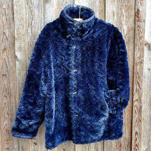 Nuage Navy Blue Black Wavy Faux Fur Reversible Coat Jacket Parka